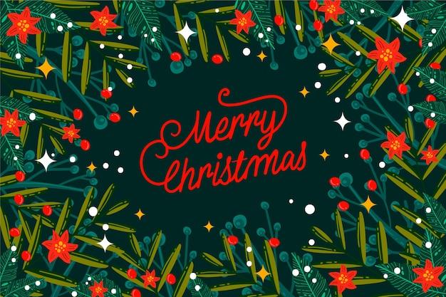 Hand getrokken kerstboom takken achtergrond
