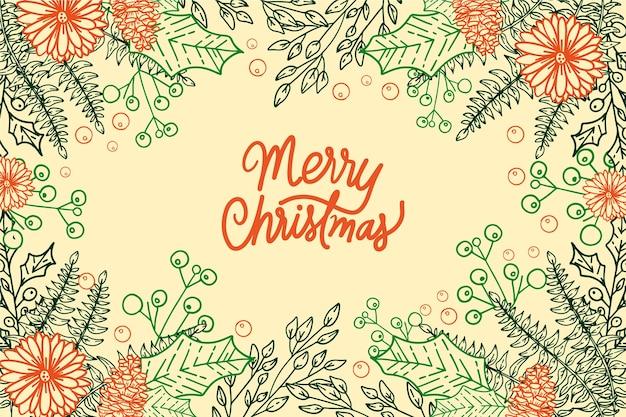Hand getrokken kerstboom takken behang