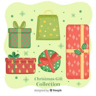 Hand getrokken kerstcadeau box-collectie