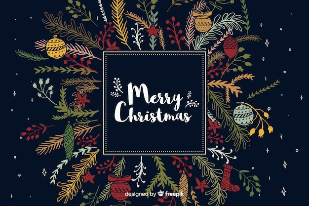 Hand getrokken kerstdecoratie als achtergrond