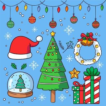 Hand getrokken kerstdecoratie set