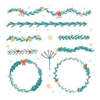 Hand getrokken kerstgrenzen en kaders