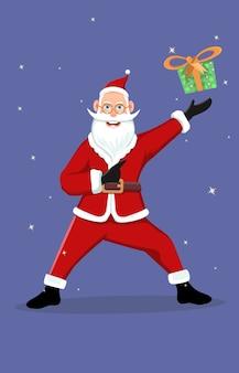 Hand getrokken kerstman brengen geschenken karakter