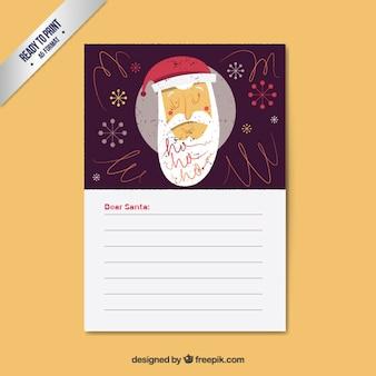 Hand getrokken kerstman brief