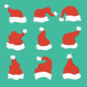 Hand getrokken kerstman hoeden