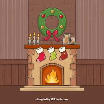 Hand getrokken kerstmis achtergrond met open haard