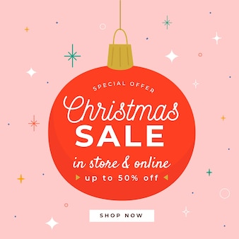 Hand getrokken kerstmis bal ontwerp verkoop