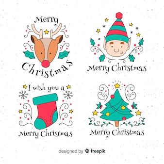 Hand getrokken kerstmis elementen labelverzameling