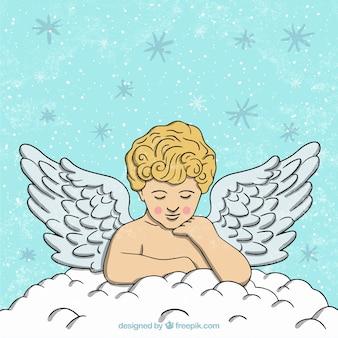 Hand getrokken kerstmis engel wolk achtergrond