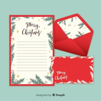 Hand getrokken kerstmis envelop en brief