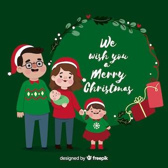 Hand getrokken kerstmis familie scène