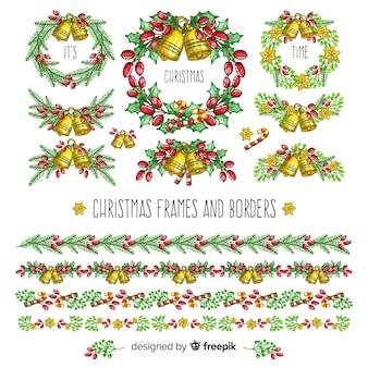 Hand getrokken kerstmis frames-collectie