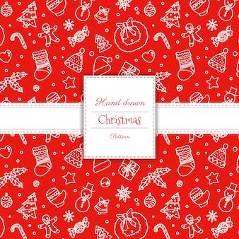 Hand getrokken kerstmis naadloos patroon