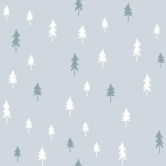Hand getrokken kerstmis naadloze patroon met kerstbomen.