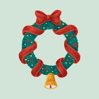 Hand getrokken kerstmiskroon met rode boog en klok