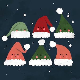 Hand getrokken kerstmuts set