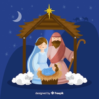 Hand getrokken kerststal achtergrond