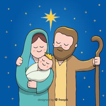 Hand getrokken kerststal illustratie