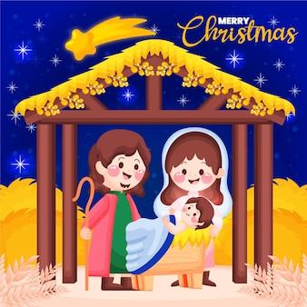 Hand getrokken kerststal