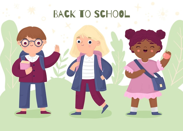Hand getrokken kinderen die naar school gaan