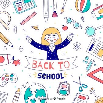 Hand getrokken kinderen terug naar school achtergrond