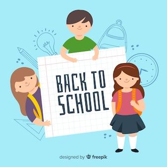 Hand getrokken kinderen terug naar schoolcollectie