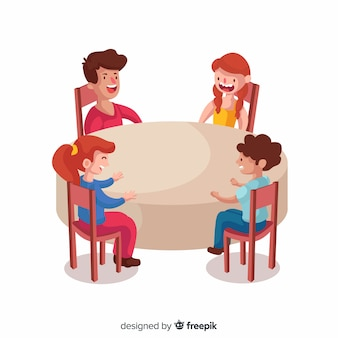 Hand getrokken kinderen zitten rond de tafel illustratie