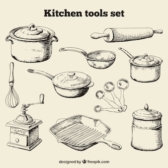 Hand getrokken kitchen tools set