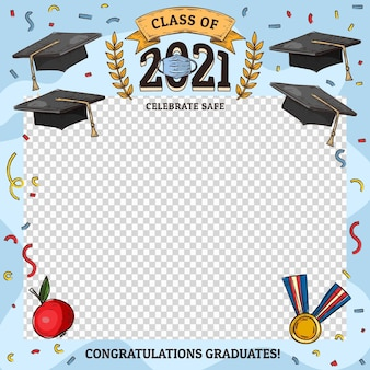 Hand getrokken klasse van 2021-kadersjabloon