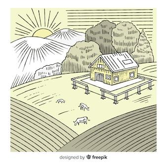 Hand getrokken kleurloze boerderij landschap