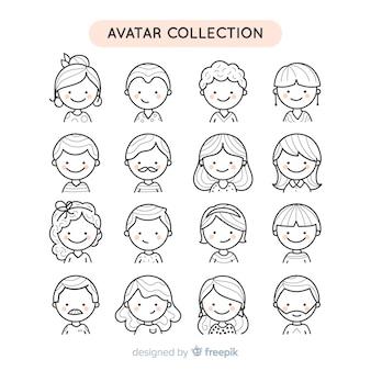 Hand getrokken kleurloze mensen avatar collectie