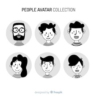 Hand getrokken kleurloze mensen avatar pack