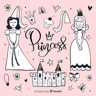 Hand getrokken kleurloze prinses en objecten achtergrond