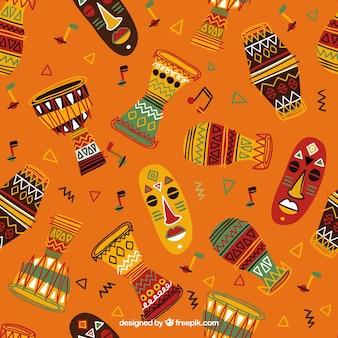 Hand getrokken kleurrijk afrikaans patroon