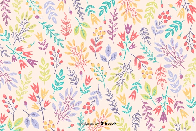 Hand getrokken kleurrijke bloemen achtergrond