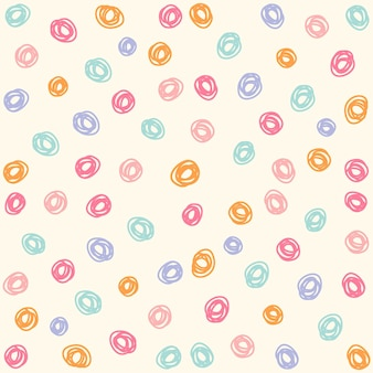 Hand getrokken kleurrijke cirkels naadloos patroon, leuke cirkel naadloze patroonachtergrond