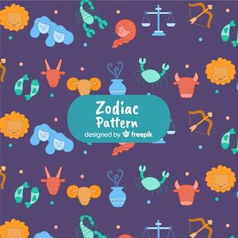Hand getrokken kleurrijke dierenriem patroon