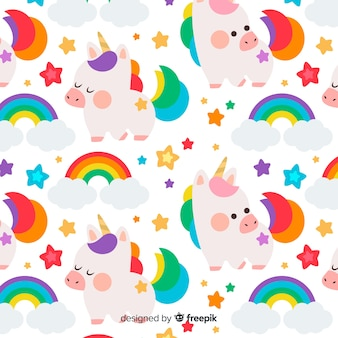 Hand getrokken kleurrijke eenhoorn patroon