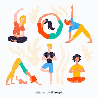 Hand getrokken kleurrijke mensen die yoga doen