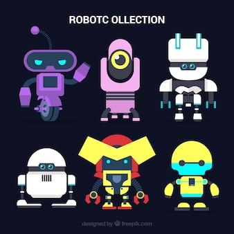 Hand getrokken kleurrijke robots-collectie