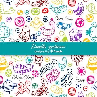 Hand getrokken kleurrijke woorden en vogels patroon
