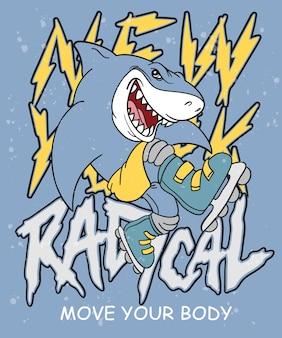Hand getrokken koel haai vectorontwerp voor t-shirtdruk