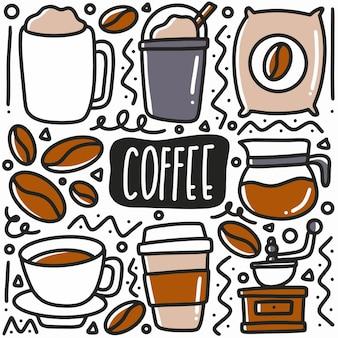 Hand getrokken koffie drinken doodle set met pictogrammen en ontwerpelementen