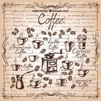 Hand getrokken koffie elementen