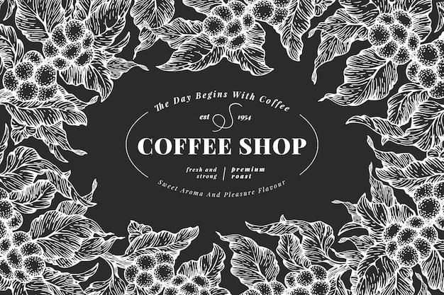 Hand getrokken koffie ontwerpsjabloon. vector koffie planten illustraties op krijtbord. vintage natuurlijke koffie achtergrond