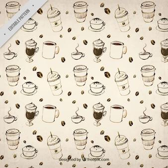 Hand getrokken koffie patroon in vintage stijl