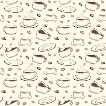 Hand getrokken koffiebekers vector naadloos patroon