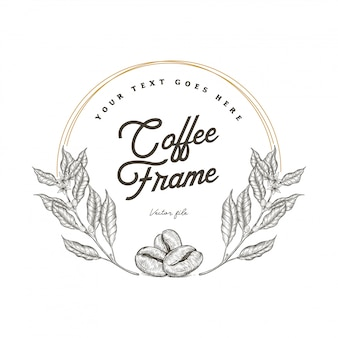 Hand getrokken koffieboom en bonenframe
