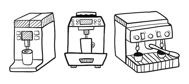 Hand getrokken koffiemachine set
