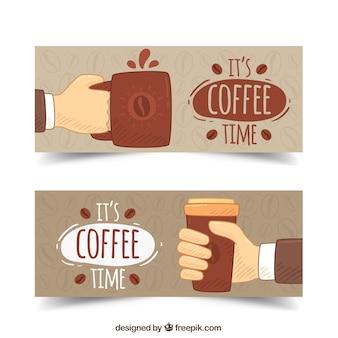 Hand getrokken koffiemokken banners